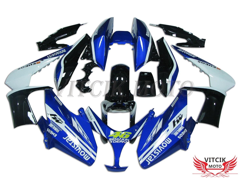 VITCIK (フェアリングキット 対応車種 ヤマハ Yamaha TMAX500 2008 2009 2010 2011 2012 TMAX 500 08 09 10 11 12) プラスチックABS射出成型 完全なオートバイ車体 アフターマーケット車体フレーム 外装パーツセット(ブルー & ブラック) A005   B075H2KNRJ