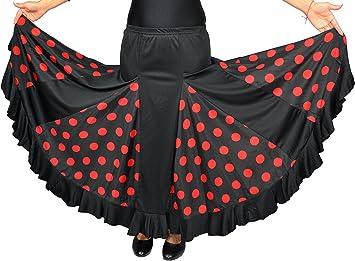 Falda de flamenco para mujer, color negro con lunares rojos, tallas ...