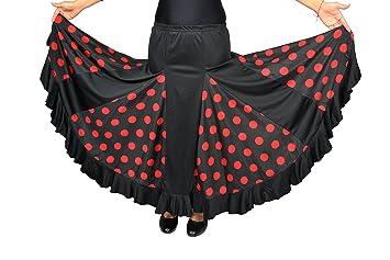 4de560426 Falda de flamenco para mujer, color negro con lunares rojos, tallas:  S/M/L/XL/XXL