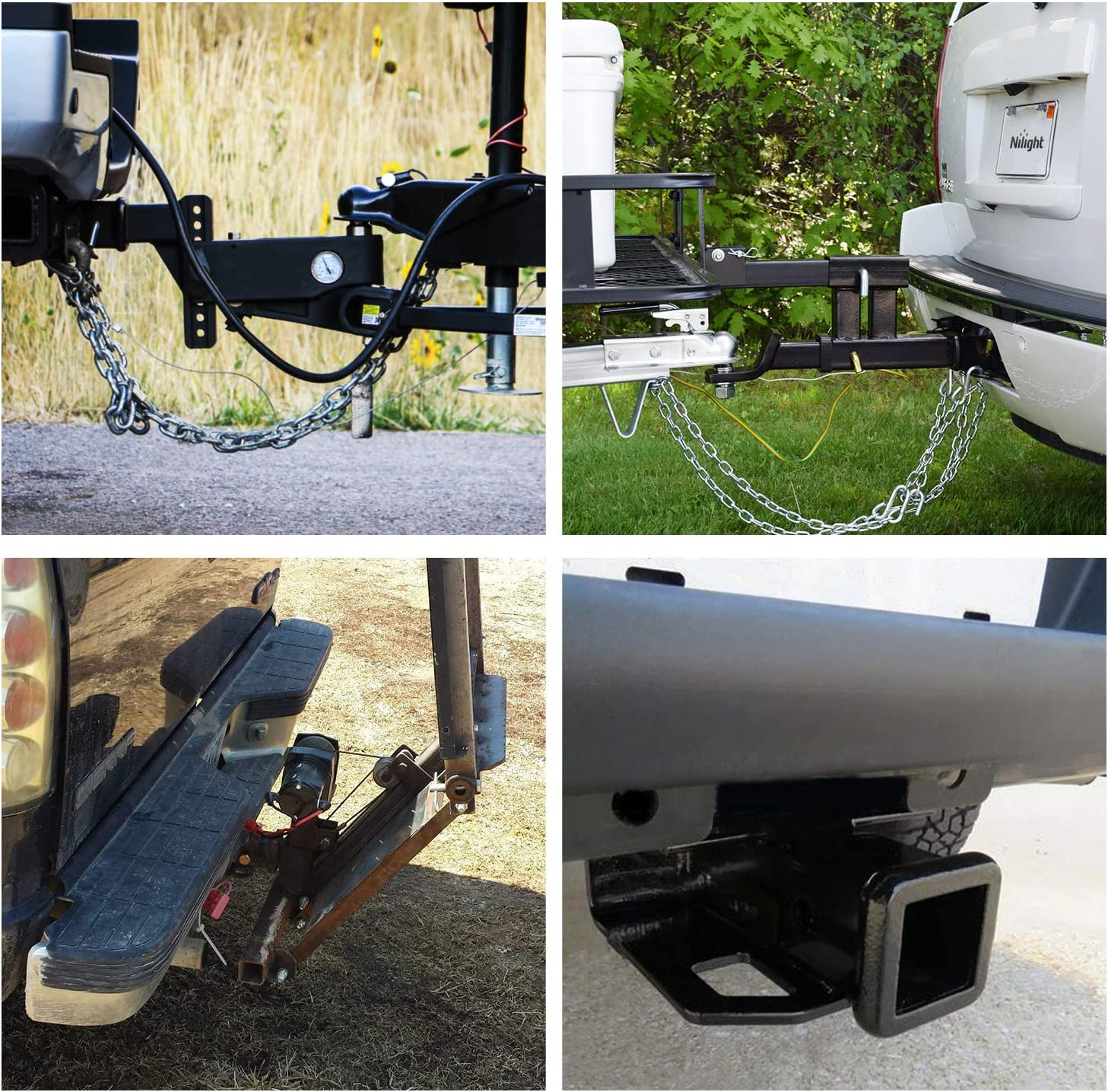 Nilight Compatible for 2007-2018 Jeep Wrangler JK 4 Door /& 2 Door Unlimited Exclude JL Models JK-61A 2 inch Rear Bumper Tow Trailer Hitch Receiver Kit w//4-Pin Wiring Harness