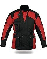 Blouson de moto renforcé CJ1019 - imperméable - doublure thermique/aérée - rouge - taille S
