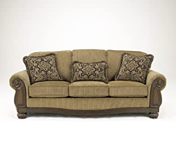 Ashley Furniture Signature Design   Lynnwood Sofa   Traditional Design    Amber