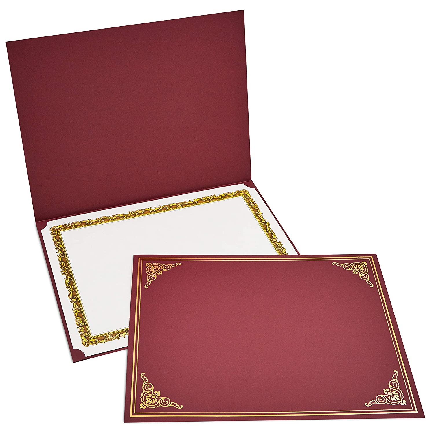 12-Pack Certificate Holder - Diploma Cover, Document Cover for Letter-Sized Award Certificates, Red, Gold Foil, 11.2 x 8.8 Inches