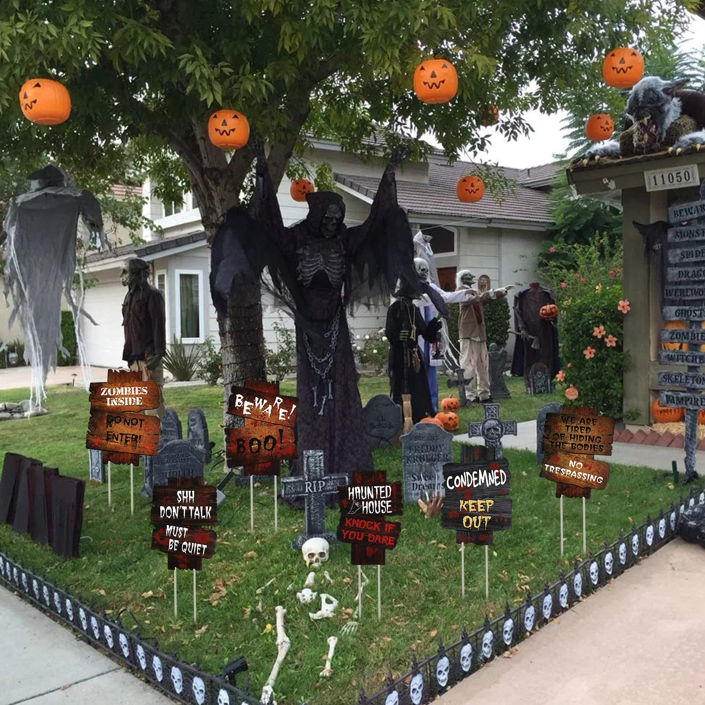 Lim Halloween Dekoration Garten Grabstein Friedhof*3 Wellpappen Yard Schilder*3 Roadside Vorsicht Requisiten f/üR Outdoor Haus Thema Party Dekoration