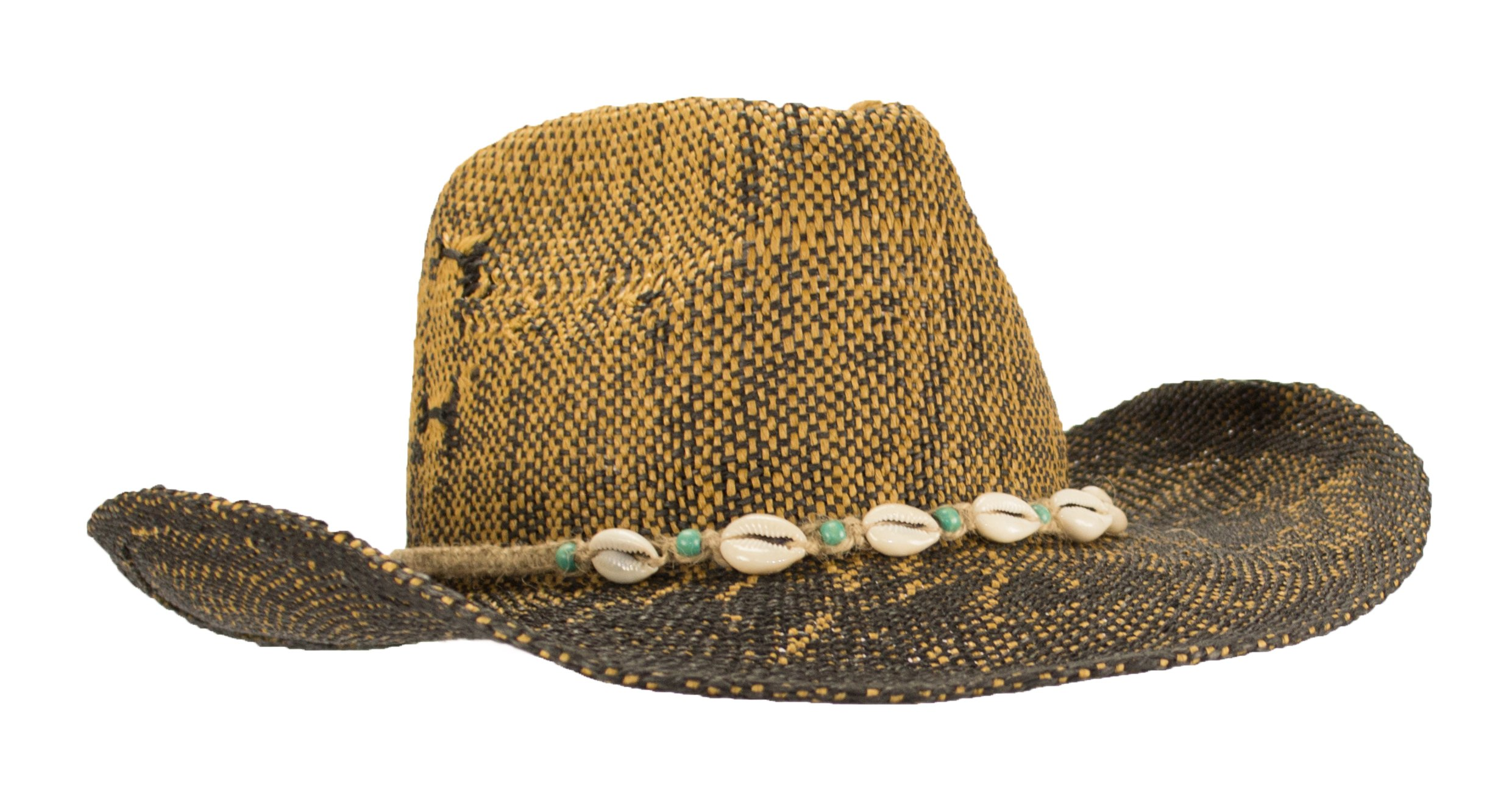 New Hand Woven Ombre Cowboy Cowgirl Hat With Beaded cowrie Shell hatband, UPF 50+ (Brown/Black)