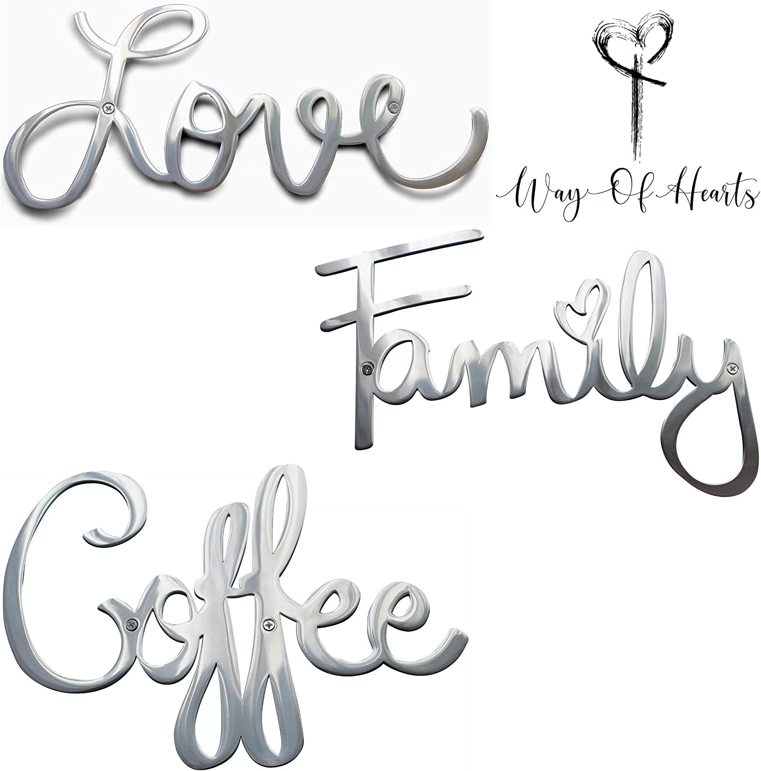 Way Of Hearts Metal Love, Family and Coffee Signs Bundle-Silver Wall Decor-Farmhouse Wall Decorations for Living Room-Wall Art- Home and Kitchen Decor-Room Decor-Polished Stainless Steel Signs