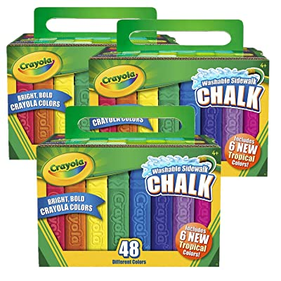 Washable Sidewalk Chalk, 48 Assorted Bright Colors by Crayola, Pack of 3: Office Products