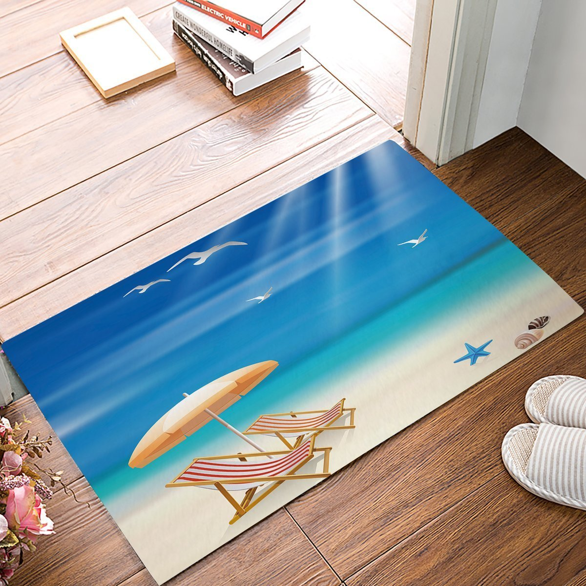 OneHoney Hot Summer Sandy Beach Indoor/Outdoor Doormat Shoes Scraper for Front Door Kitchen Bathroom Garden Entrance Outside Floor Rug Mats 15.7 x 23.6inch