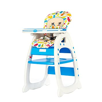 Wondrous Evezo 6251A 3 In 1 Baby High Chair Booster Seat Desk And Chair Set Ocean Blue Caraccident5 Cool Chair Designs And Ideas Caraccident5Info