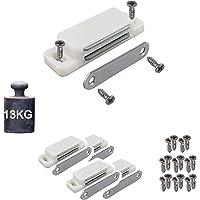 4 magnetische snappers, kastmagneet, houdkracht 13 kg, set van 4 met schroeven, wit, deurmagneet, kastdeurmagneet…