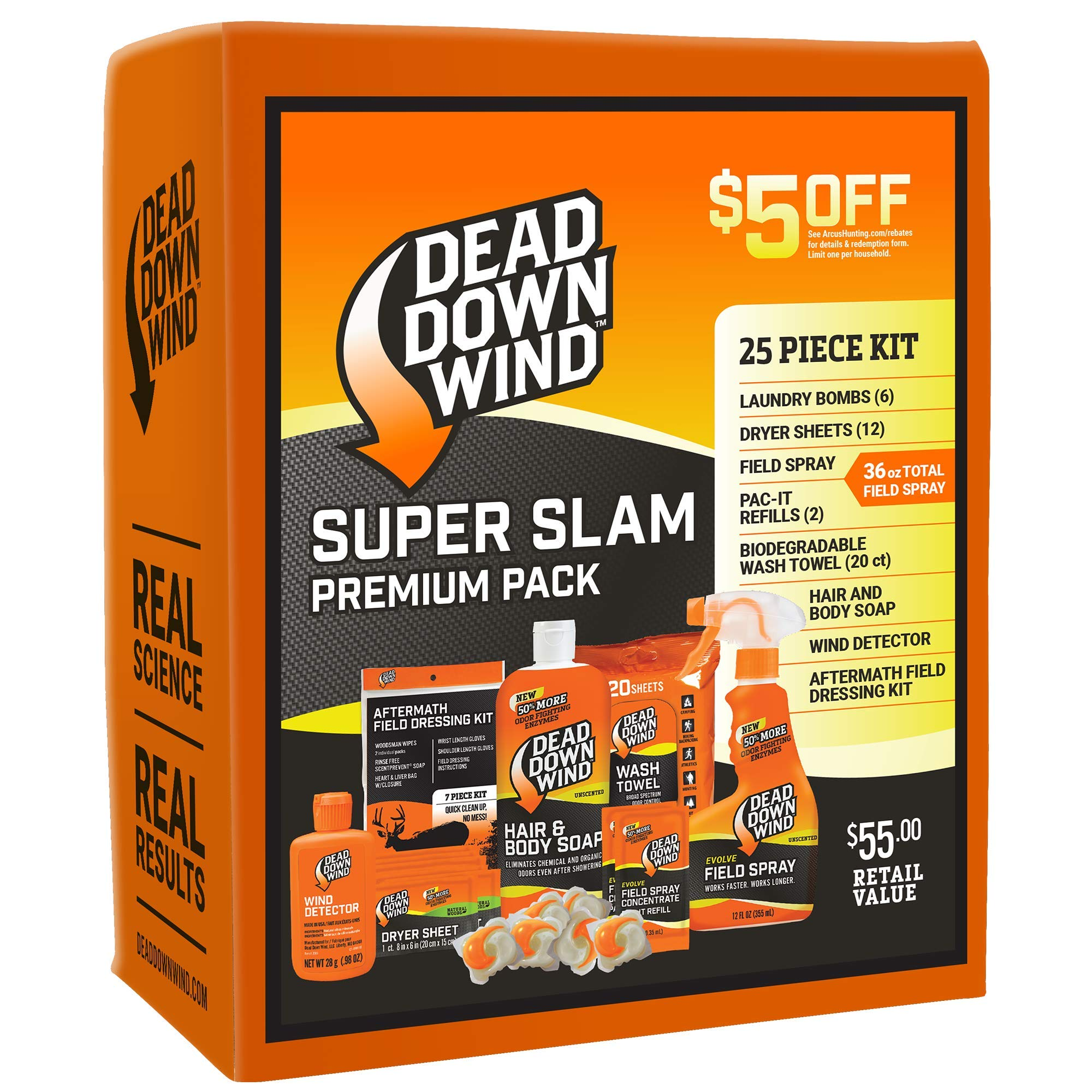 Dead Down Wind Hunting Scent Eliminators – Super Slam Premium Pack, Complete Odor-Elimination System, 25 Piece Kit