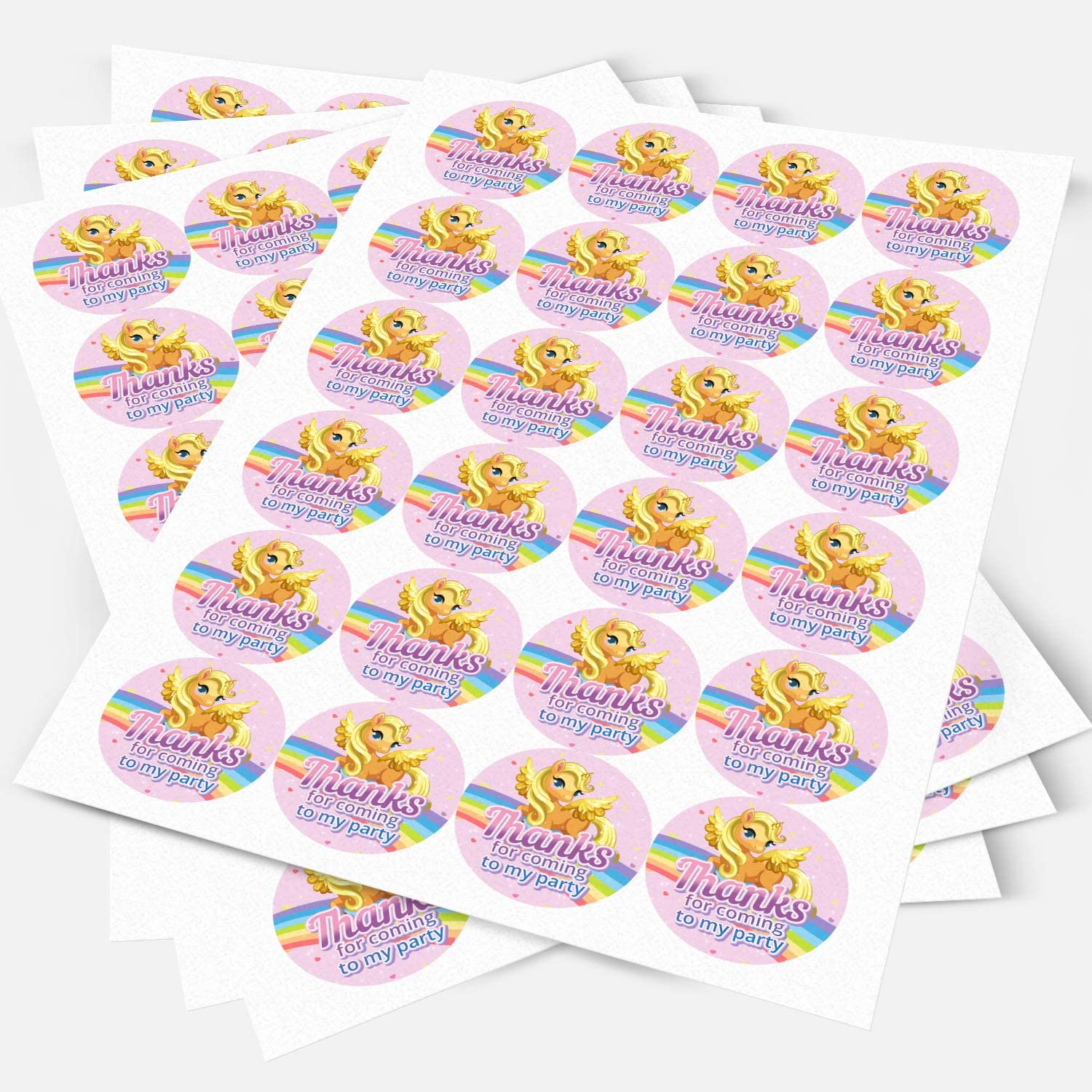 NON-PERSONALISED Pony Party Unicorn Sticker Labels Sweet Cones Party Bags Gift Boxes Favors Thank You 3.5 CM x 35 // 1, A4 Sheet