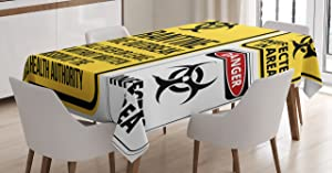 Ambesonne Zombie Decor Tablecloth, Danger Caution Signs Quarantine Infective Area Biological Illustration, Dining Room Kitchen Rectangular Table Cover, 60