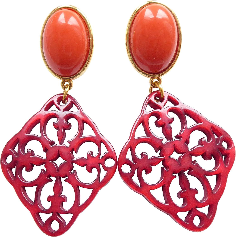Accesorio con efecto de señal: grandes pendientes clips (Dorado) con un korallroten piedra y un rojas tallados colgante