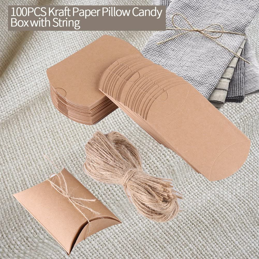 Vintage Kraft Pillow Shaped Gift Boxes