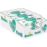 Pampers Aqua Pure Billendoekjes, 432 Babydoekjes (9 x 48 Doekjes), Gemaakt met 99% Puur Water, Dermatologisch Getest
