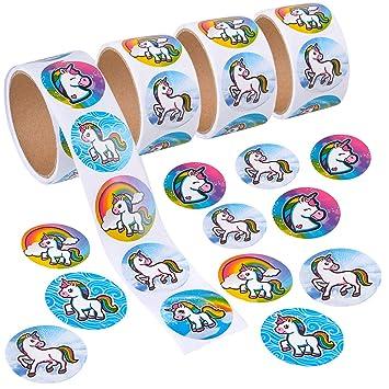 Amazon.com: Bedwina - 400 pegatinas de unicornio redondas de ...