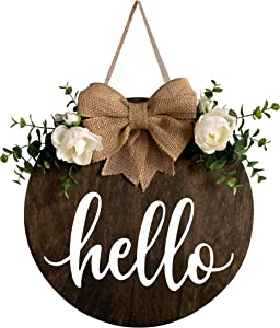MayAvenue Hello Wreaths Decor Sign Front Door, Round Wood Hanging Sign with Ribbon Bow and Artificial Green Leaves, Farmhouse Porch Decorations for Home Thanksgiving, Brown