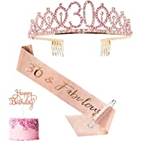 30th Birthday Sash and Tiara for Women, Rose Gold Birthday Sash Crown 30 & Fabulous Sash and Tiara for Women, 30th…