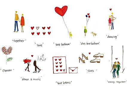 10 Magnifiques Romantique Amour Cartes De Vœux Cartes De