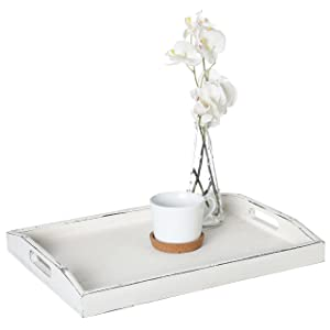 MyGift Rustic Whitewashed Wood Serving Tray with Cutout Handles, Coffee Table Accents