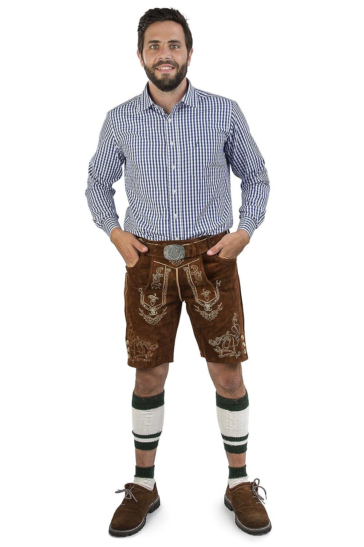 Schöneberger Trachten Couture Men's Dungarees Lederhosen Brown Brown 42 Lederhose Wiesnstreif kurz