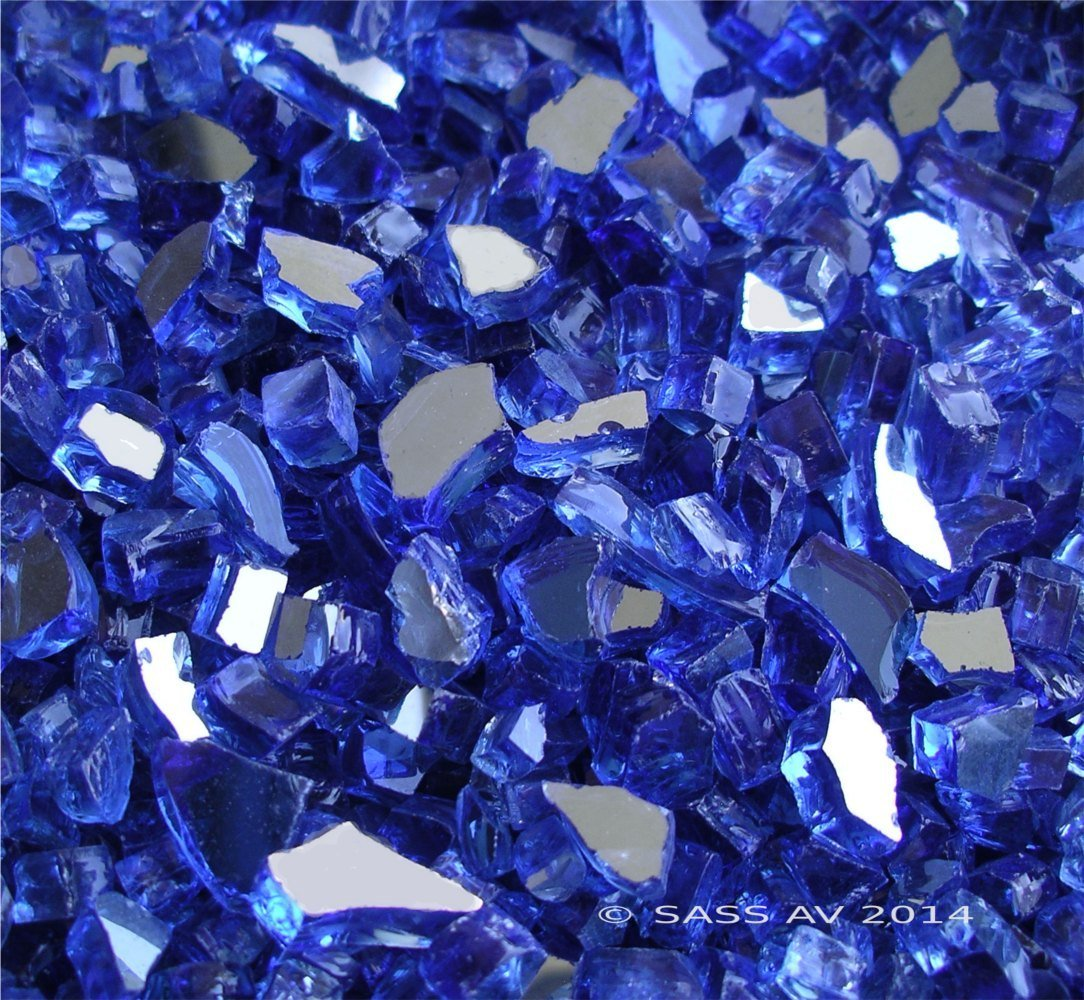 Fireglass Fireplace Fire Pit Glass, ~1/4'' Cobalt Reflective Cr., 25 LBS by Fireplace Glass San Diego