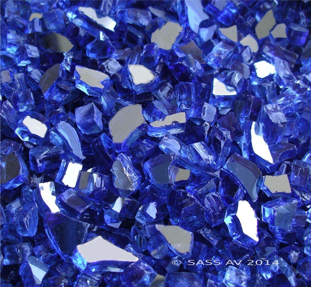 Fireglass Fireplace Fire Pit Glass, ~1/4'' Cobalt Reflective Cr., 42 LBS
