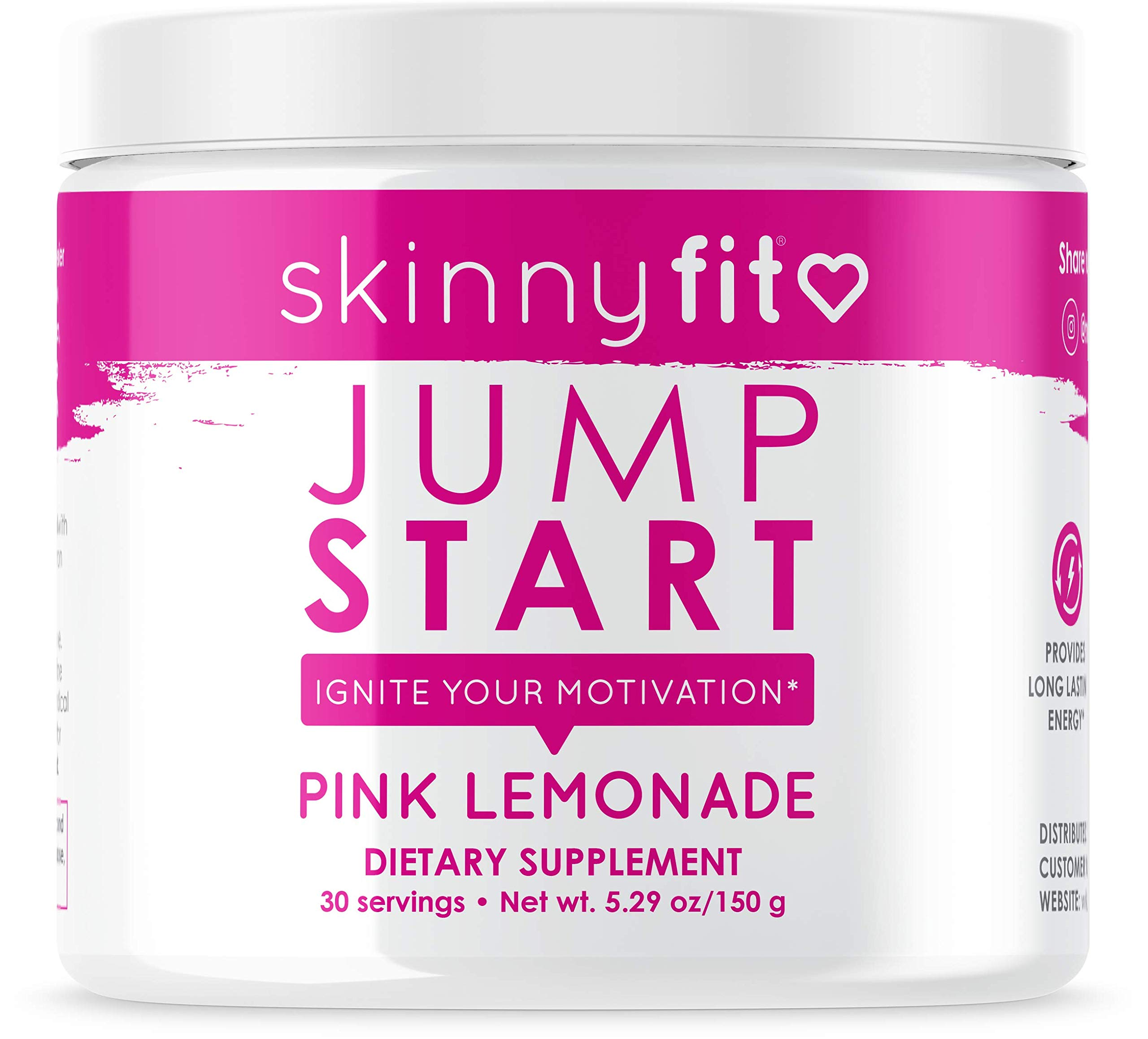 Skinny Fit Jump Start Pre Workout Supplement For Women 30 Servings - Creatine Free Powdered Mix Drink to Boost Energy, Focus, and Endurance with Caffeine and Fat Burning L-Carnitine; Pink Lemonade