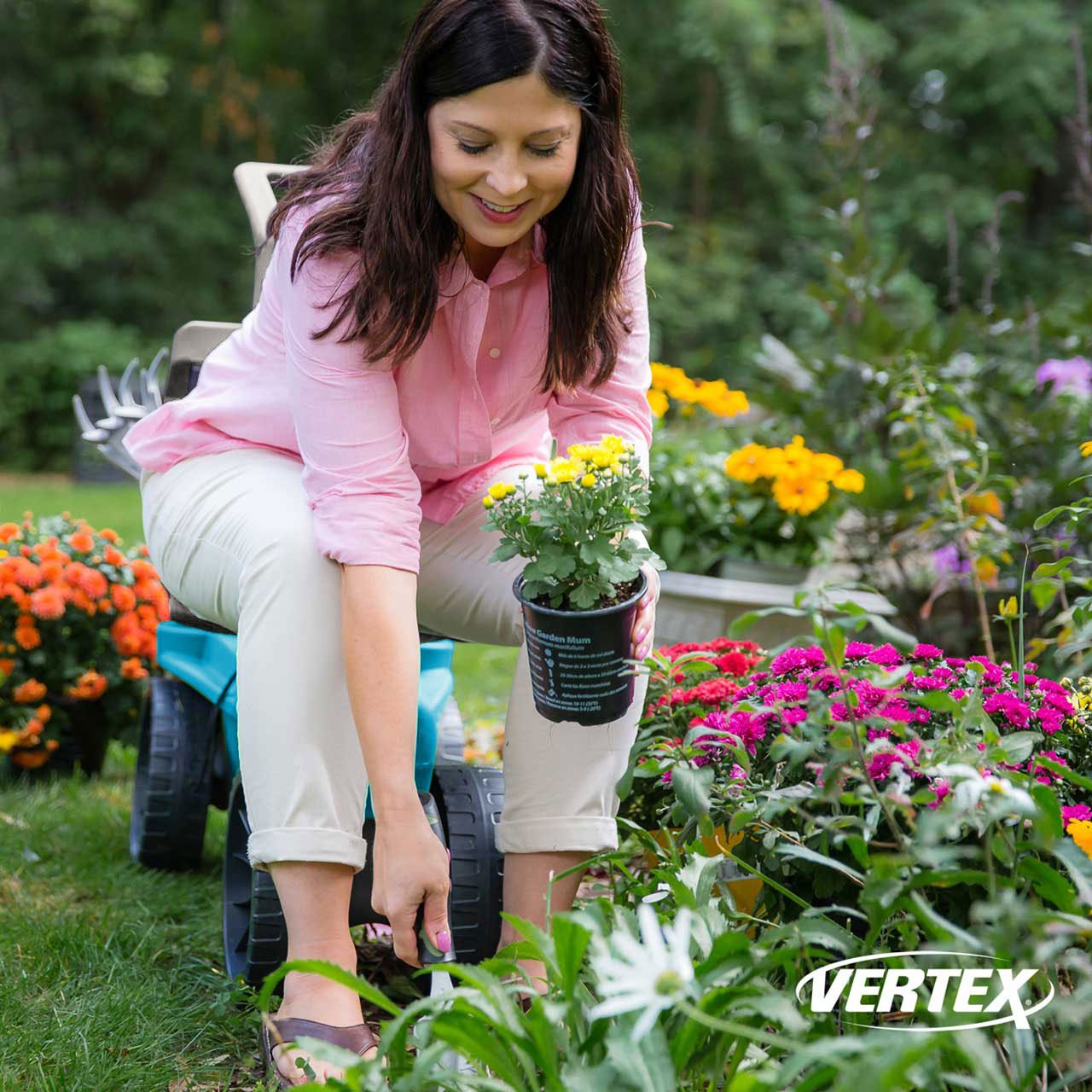 Easy Up Deluxe XTV Rolling Garden Seat and Scoot - Adjustable Swivel Seat, Heavy Duty Wheels, and Ergonomic Design To Assist Standing, Sitting, and Bending Over Made in the USA (Deluxe XTV Teal) by Vertex (Image #2)