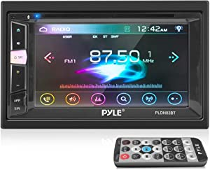 Double Din DVD Car Stereo Player Bluetooth in-Dash Car Stereo Touch Screen Receiver w/ USB/SD, MP3, CD Player, AM FM Radio, Steering Wheel Feature, Hands-Free Call, Camera/Speaker Input - Pyle