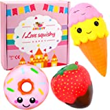 Augshy 3 Pcs Novelty Jumbo Slow Rising Toy Squeezes Pack Including Chocolate Strawberry Smile Donut Ice Cream Slow Rising Squeeze Kawaii Scented Charms Hand Wrist Toy