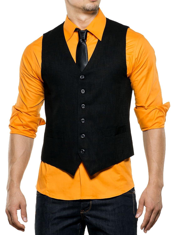 Reslad Herren Weste Männer V-Ausschnitt Kellner Hochzeit Anzug Business Männer Westen Slim Fit Taschen K-235