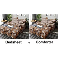 Kuber Industries Checkered Design Glace Cotton AC Comforter King Size Bed Comforter, Double Bed Sheet, 2 Pillow Cover (Brown, 90x100 Inches)-Set of 4 Pieces-CTKTC033191