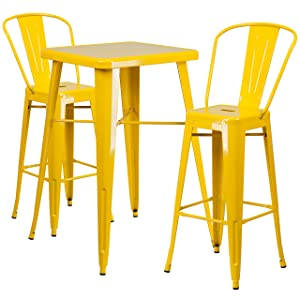 Flash Furniture 23.75'' Square Yellow Metal Indoor-Outdoor Bar Table Set with 2 Stools with Backs