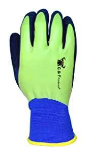 G & F 1536L-6 Aqua Gardening Men's Gloves with Double Microfoam Latex Water Resistant Palm, Large,6 pair pack