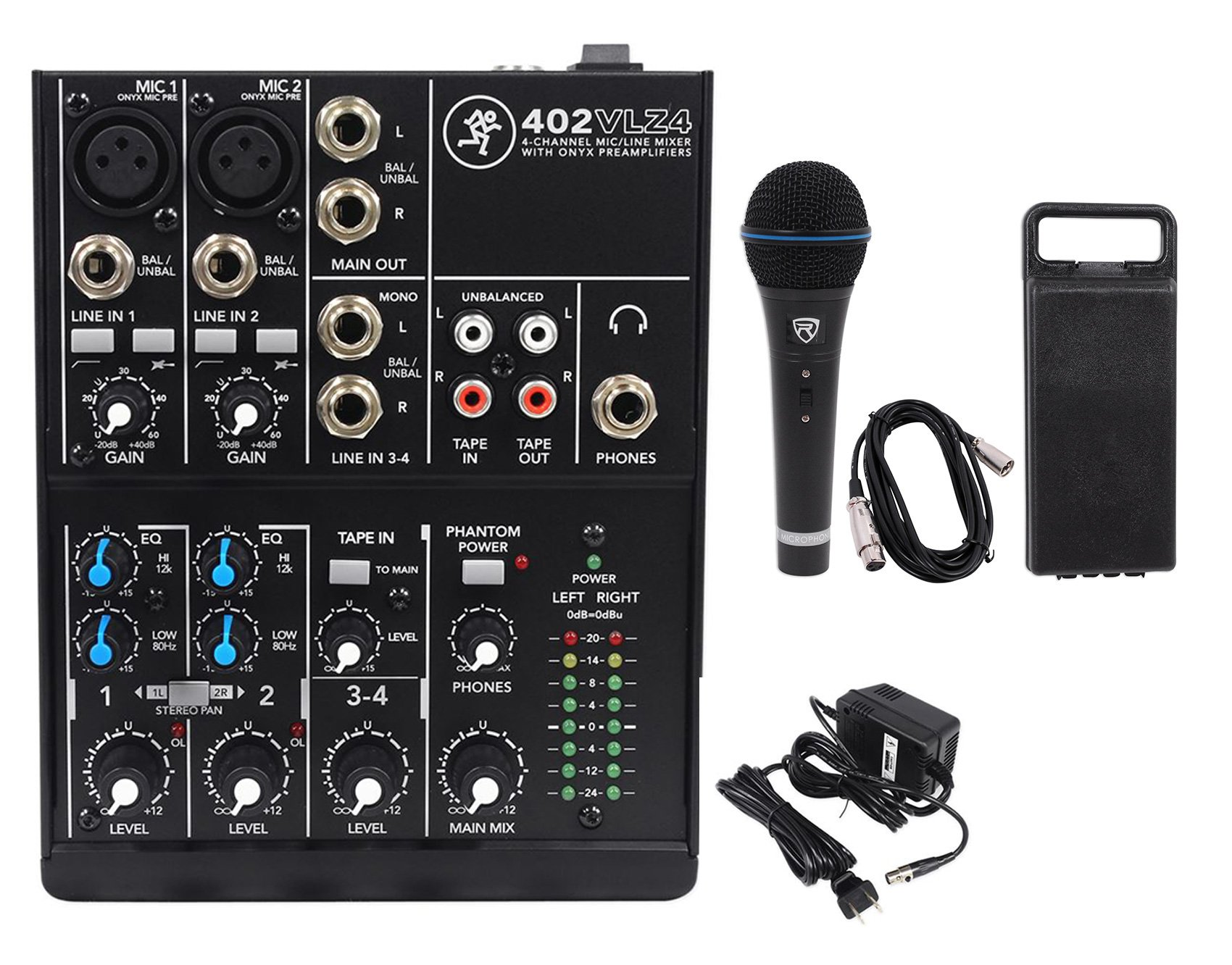 Mackie 402VLZ4 4-channel Compact Mixer w/ 2 ONYX Preamps+Microphone+XLR Cable