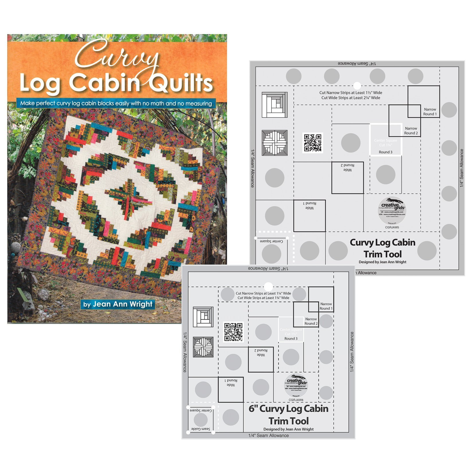 Bundles of Creative Grids Non-Slip Curvy Log Cabin Trim Tools for 8 in Finished Blocks and 6 inch Finished Blocks; and Book Curvy Log Cabin Quilts by Jean Ann Wright by Creative Grids and Landauer Publishing