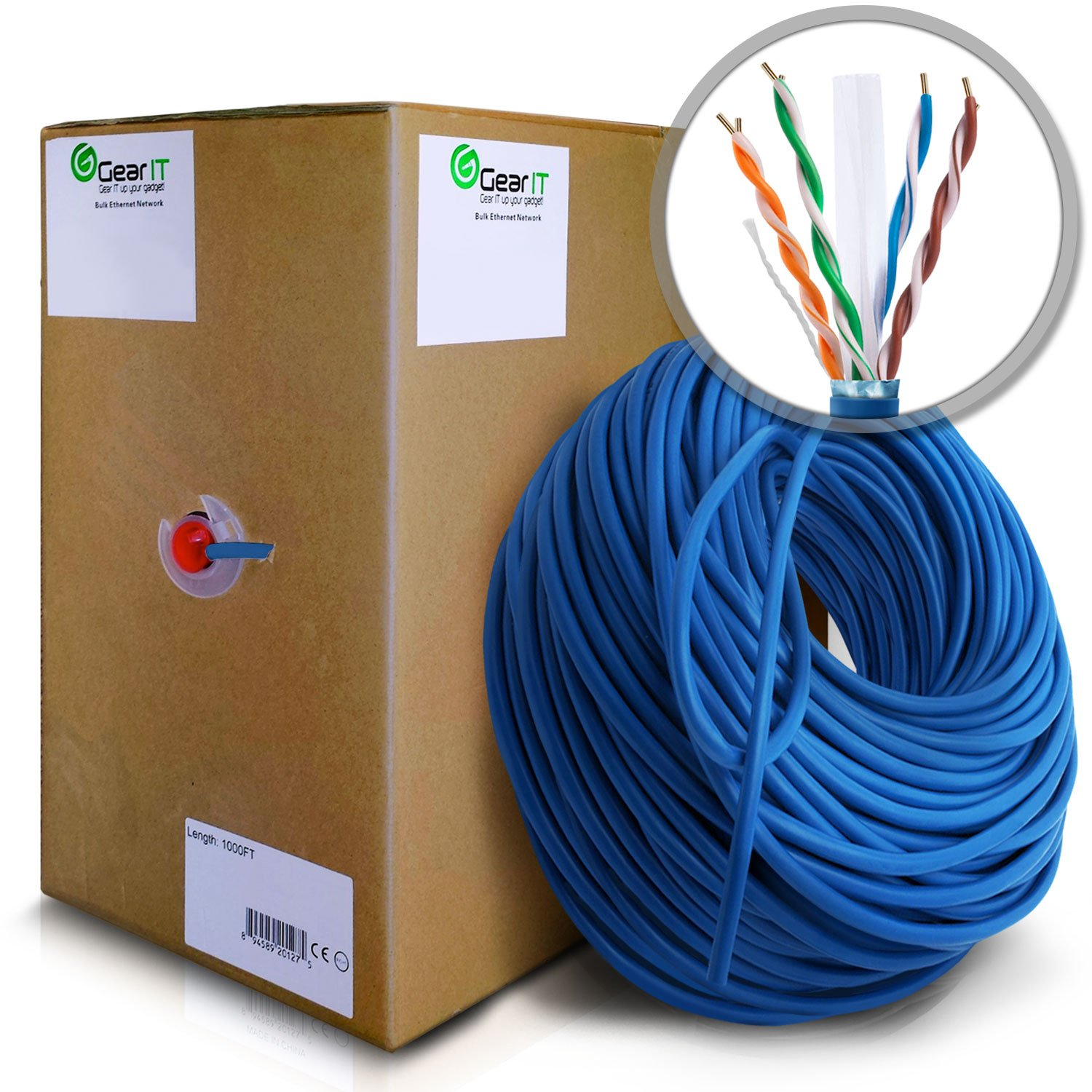 GearIT 1000 Feet Bulk Cat6 STP Ethernet Cable - Solid Twisted Pair - Cat 6 Shielded 550Mhz 24AWG Full Copper Wire Pull Box - In-Wall Rated (CM), Blue