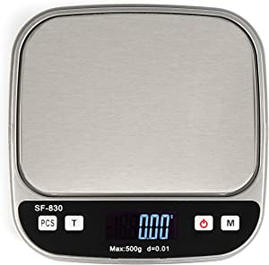Boldall Portable Digital Kitchen Food Scale with Black Cover, 500 Grams x .01g/.001oz, LCD Display, Tare Function