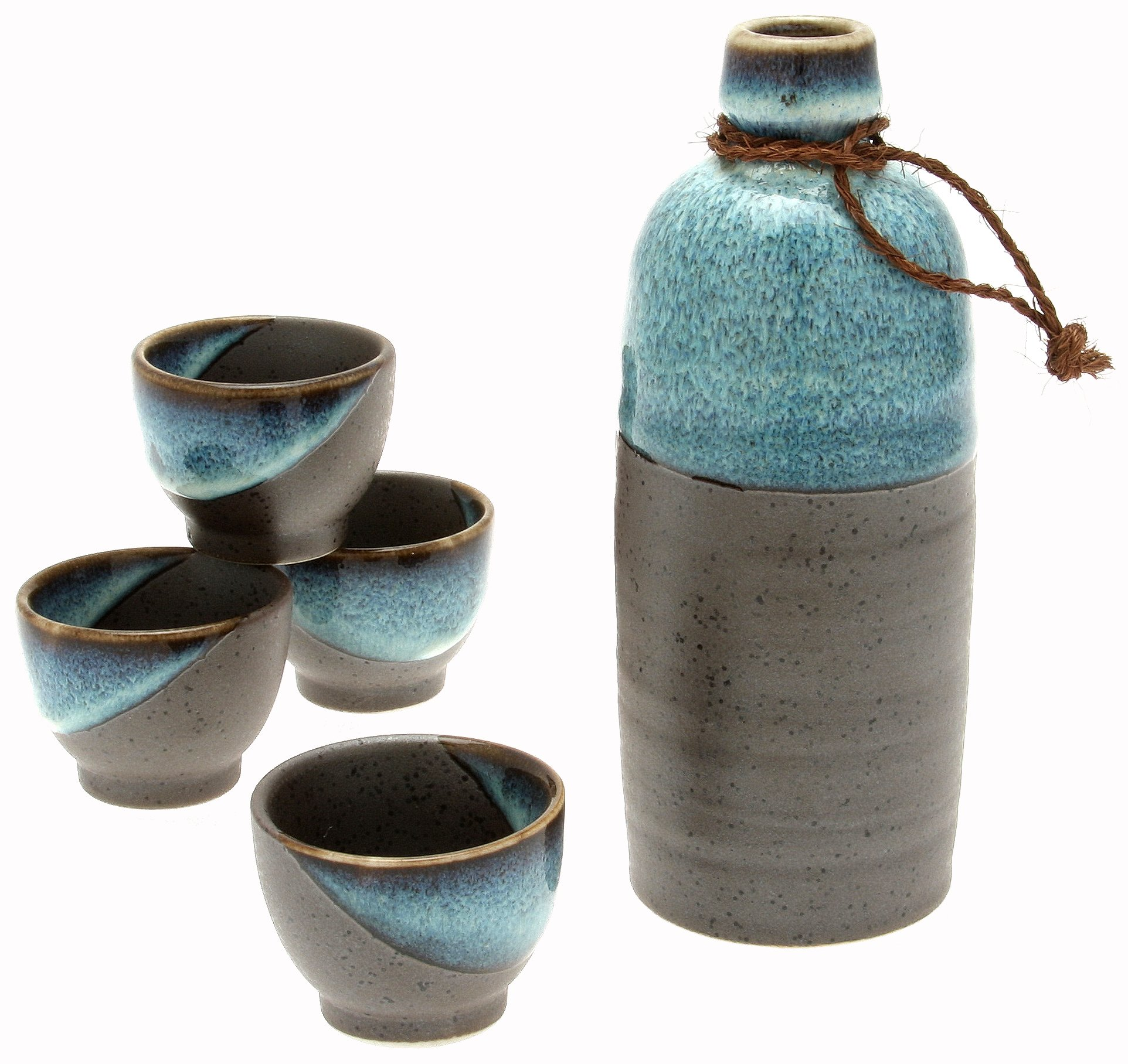 Kotobuki Japanese Sake Set, Kuro Iga''Black Sand Beach'', Blue