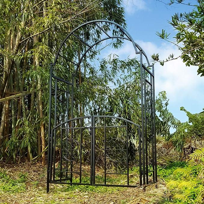 OUTOUR Arco de jardín con puerta, 84 x 53 x 23 cm, arco de jardín para escalada de plantas, palos de rosas, jardín al aire libre, patio, patio, negro: Amazon.es: Jardín