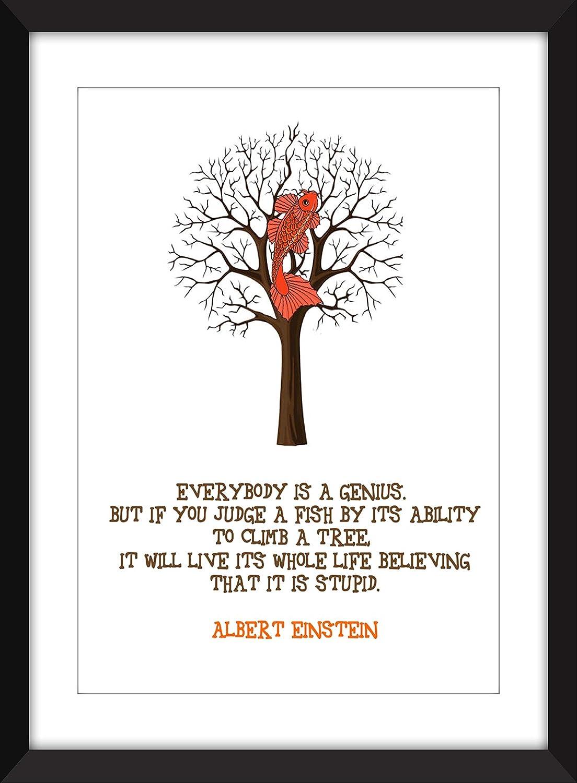 Albert Einstein Dumme Fische Zitat Artwork A3 A4 A5