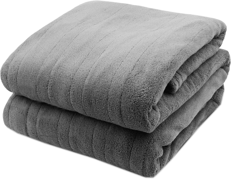 Biddeford Luxurious Microplush Heated Electric Blanket Queen LIGHT GRAY Plush