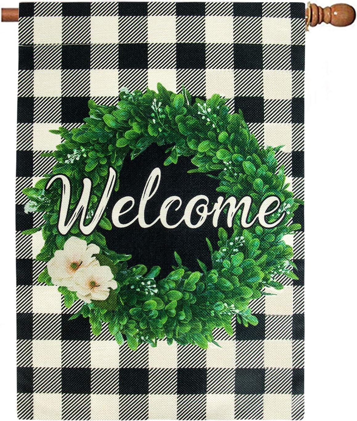 Unves Boxwood Wreath Welcome Christmas House Flag 28 x 40 Double Sided, Burlap Buffalo Check Plaid Large Summer Fall Winter Christmas Garden Flag Yard Rustic Farmhouse Porch Decor