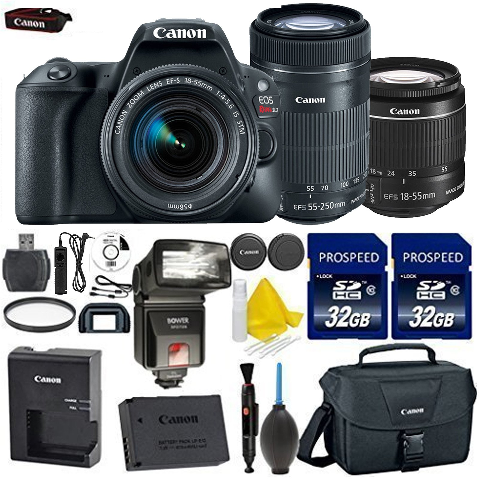 Canon EOS Rebel SL2 DSLR Camera with Canon EF-S 18-55mm f/4-5.6 IS STM Lens + Canon EF-S 55-250mm f/4-5.6 IS STM Lens + 2 Pcs Prospeed 32GB Memory Card + Premium Accessories Bundle (16 Items) by Canon
