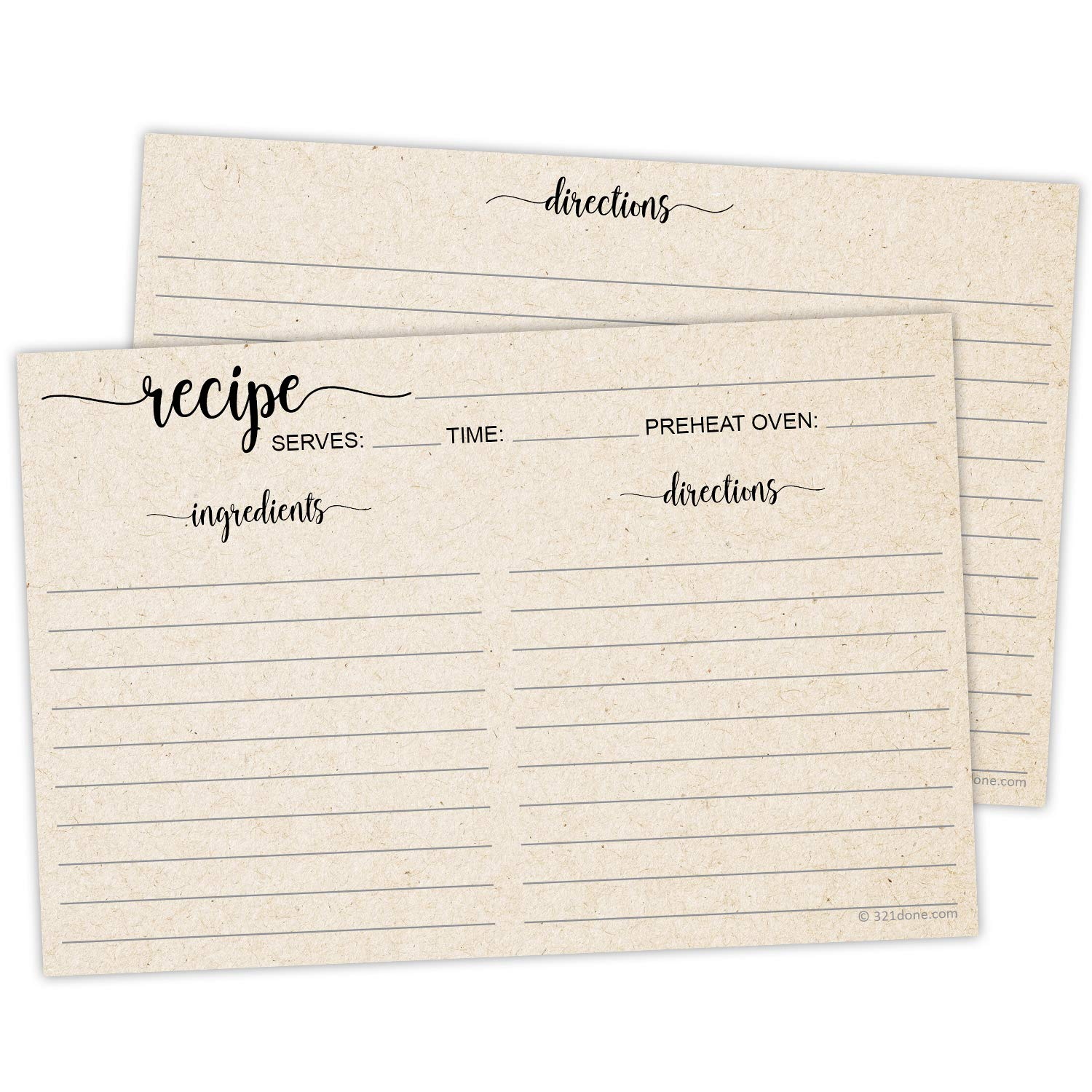 321Done 4'' x 6'' Recipe Cards (Set of 50) - Thick Double Sided Premium Card Stock with Kraft Paper Look - Made in USA - Script Font Minimalist, Large Kraft