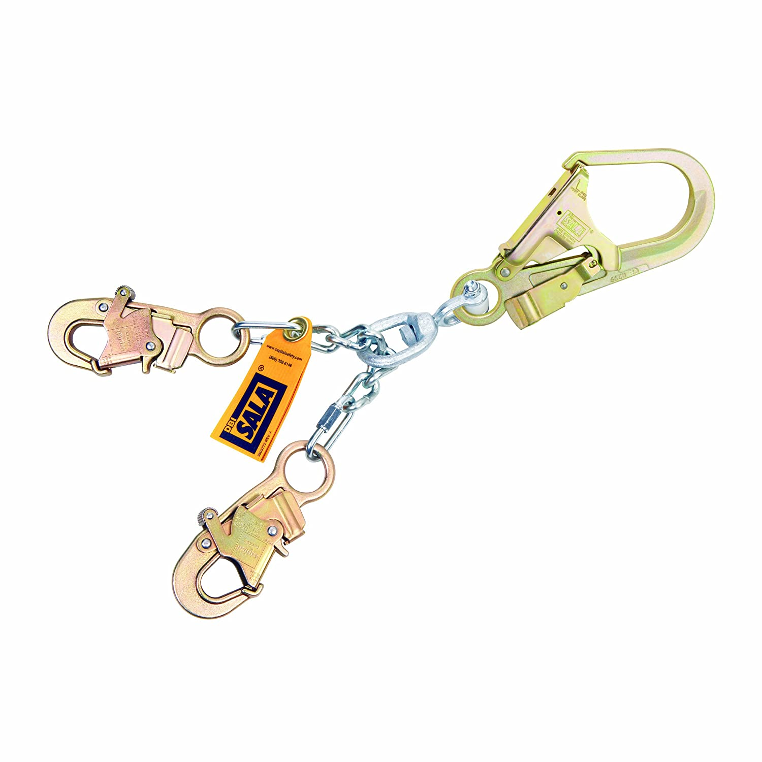 3M DBI-SALA 5920050 Positioning Lanyard, 20.5-Inch Chain Rebar Assembly, with Swiveling Steel Rebar Hook At Center, Snap Hooks At Leg Ends, Silver by 3M Fall Protection Business  B00G99S9XQ