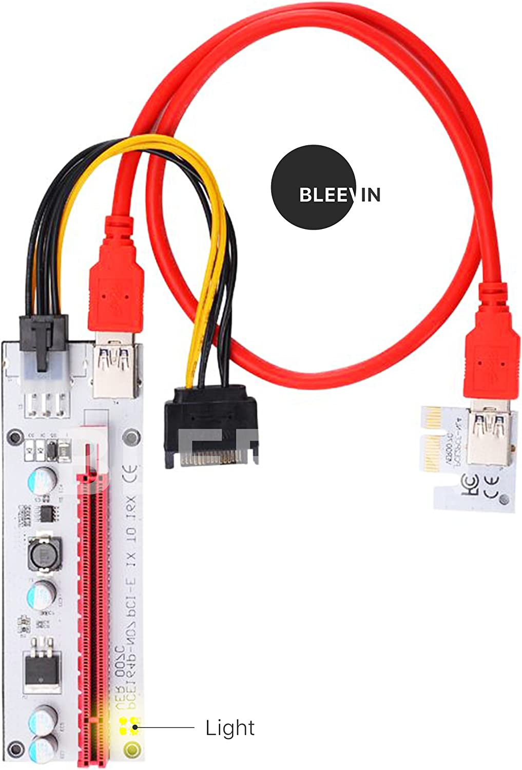 Bleev.In 8 Pack PCI-E Riser 1x to 16x USB 3.0 Extender Adapter with LED VER 007