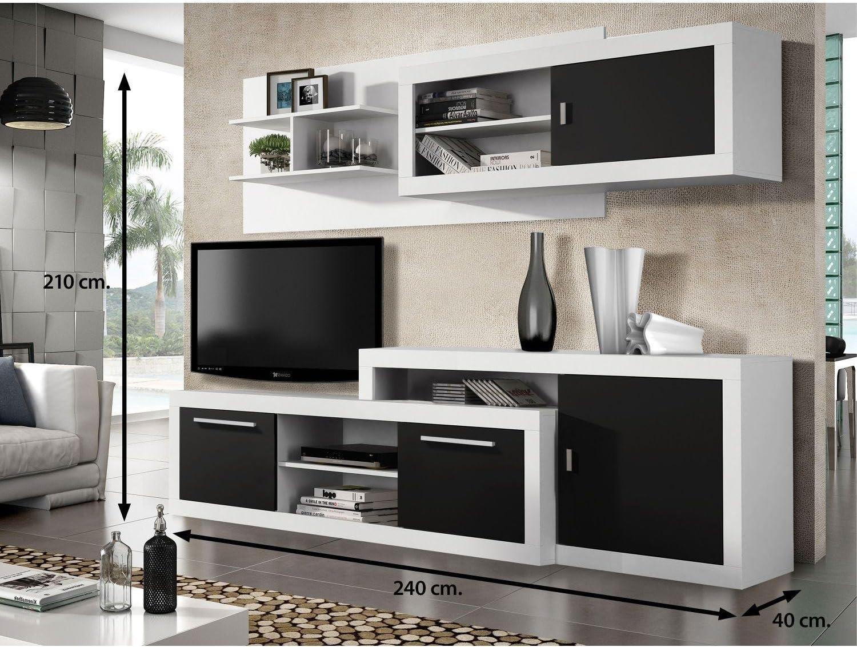 Mueble salón TV Completo, Color Blanco y Negro, Subida A Domicilio ...